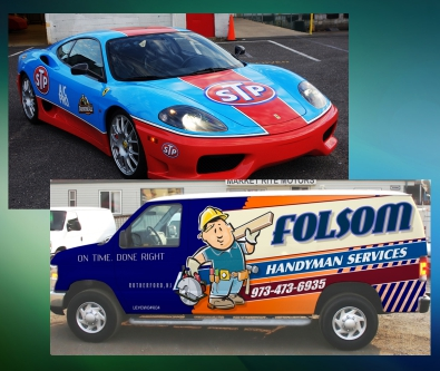 Vehicle wraps, cars, box truck, pick up trucks
