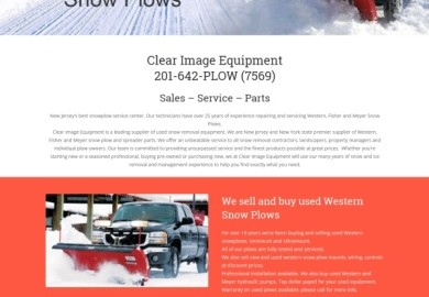 Website for clear image equipment company selling and servicing snow plows
