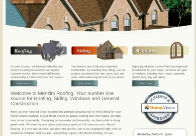 Web site for company specializing in roofing, replacement windows