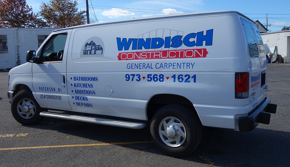 Van lettering and decals for construction company windisch construction custom van