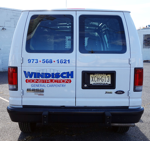 Van lettering for construction company NJ