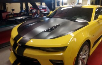Camaro hood wrap and striping