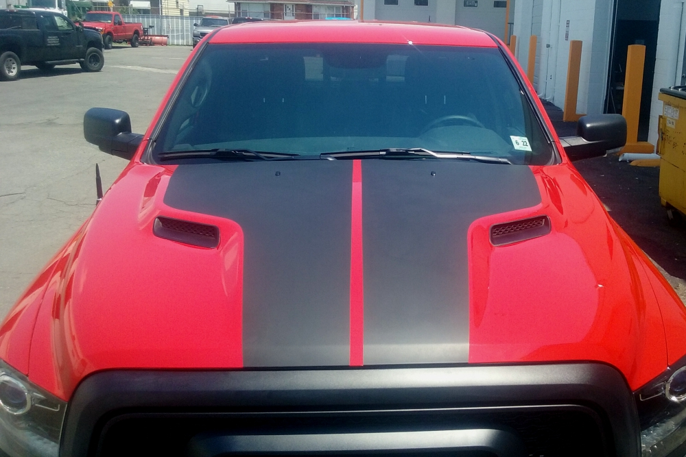dodge rebel hood stripes