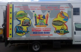 JLA party box truck wrap