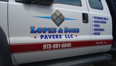 Lettering and logo design for Lopes Pavers