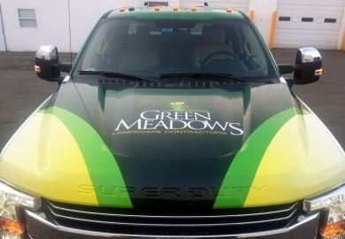 Green Meadows Landscaping pick up truck wrap Hood