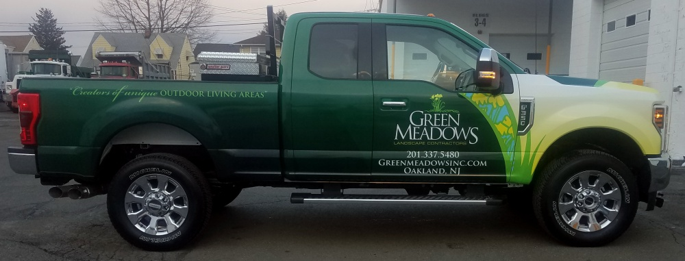 Green Meadows landscaping Ford truck wrap