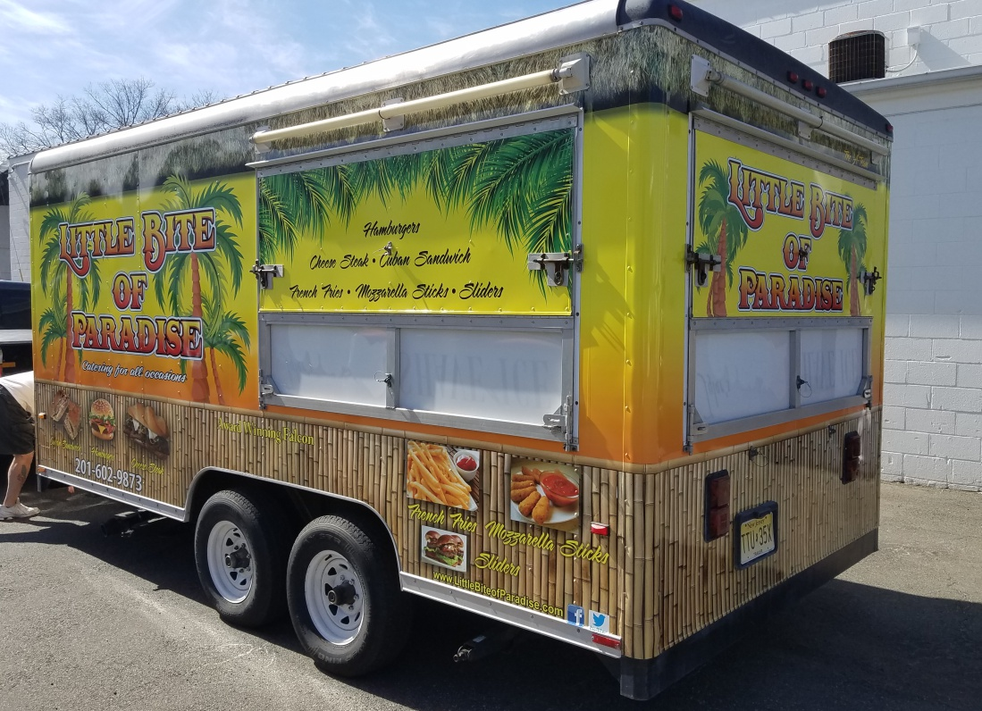 Food trailer wrap design, installation, printing