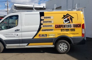 Carpeters touch partial van wrap