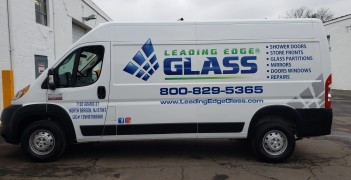 Leading edge glass van lettering and graphics