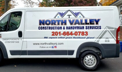 North Valley construction van lettering and logo design