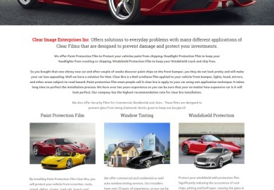 Website for clear bra and window tinting company
