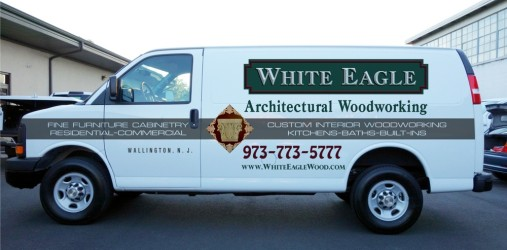 White Eagle Woodworking van graphics