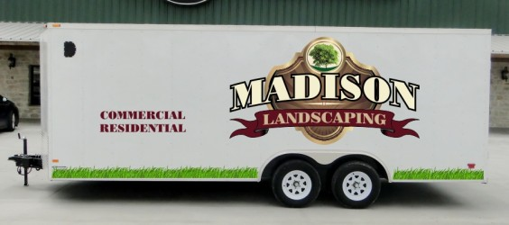 Trailer lettering and graphics for NJ landscaping company