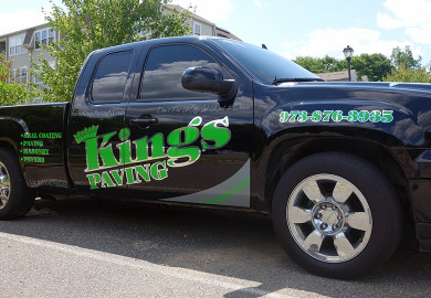 Custom truck lettering with chrome letters