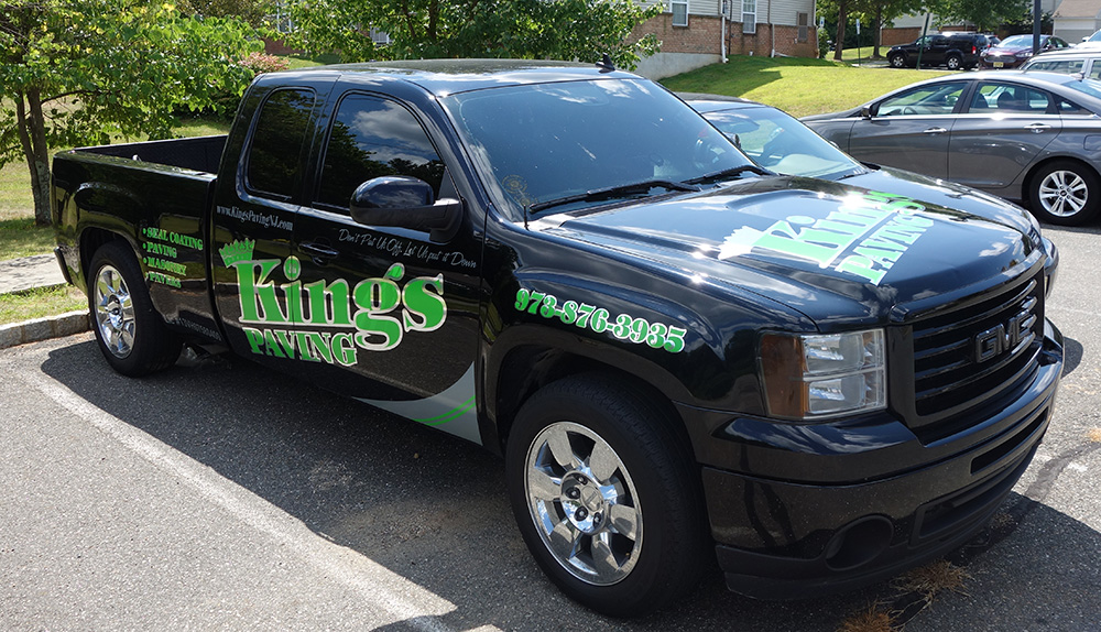 Kings paving truck decals lettering