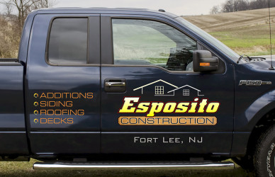 Truck lettering and logo design for construction company