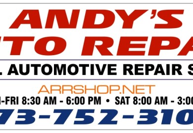 Sign for Andy's auto repair