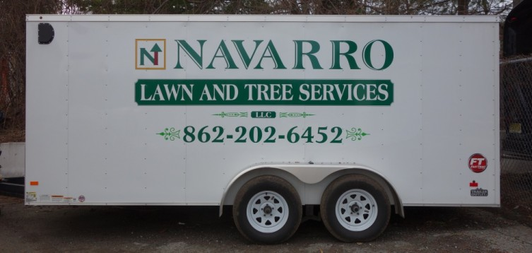 Navarro Landscaping trailer lettering and decals