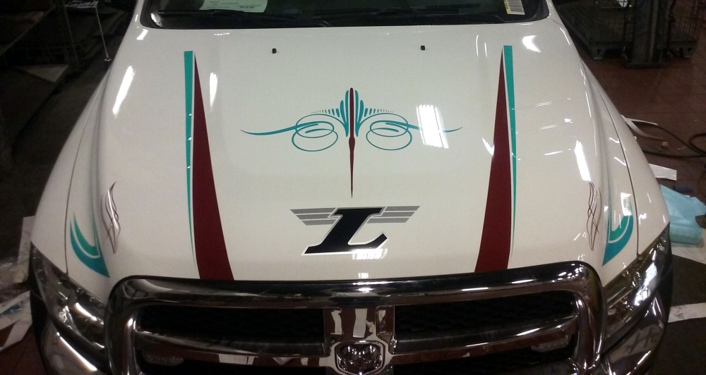 Custom hood graphics and pinstriping