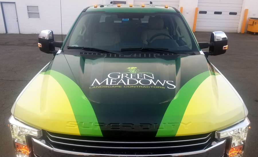 Green Meadows Ford truck wrap hood