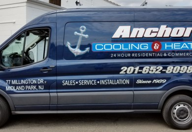 Anchor Cooling & Heating van lettering