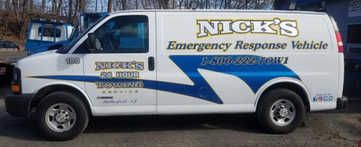 Nick's towing van lettering