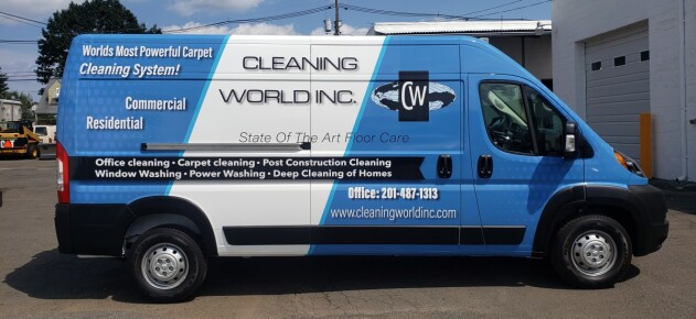 Cleaning World Dodge Promaster van wrap